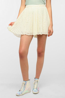 Urban Outfitters Pins And Needles Pleated Lace Mini Skirt