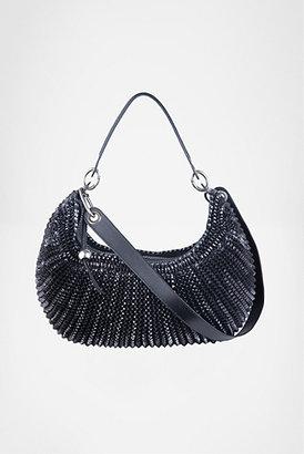 Diane von Furstenberg Stephanie Medium Bag In Black Metallic Leather