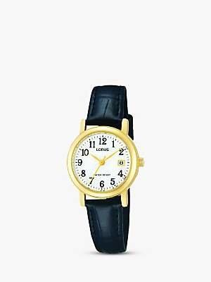 Lorus RH764AX9 Women's Leather Strap Watch, Black/White