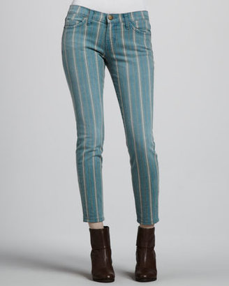 Current/Elliott The Low Rise Stiletto Jeans, Turquoise Pinstripe