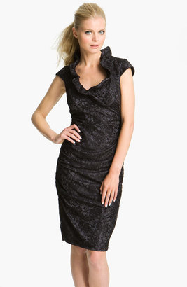 Xscape Evenings Ruched Ruffle Collar Lace Dress