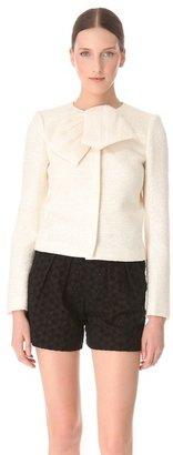 Giambattista Valli White Tweed Collar Bow Jacket