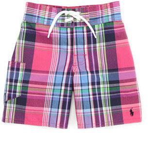 Ralph Lauren Tulum Plaid Swim Trunks, Pink/Multi, Sizes 4-7