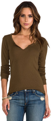 Michael Stars Long Sleeve Notched Scoop Neck