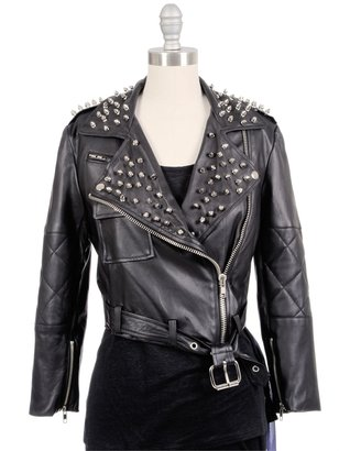 SIMONE BY KATIE NEHRA Spike Moto Cropped Leather Jacket