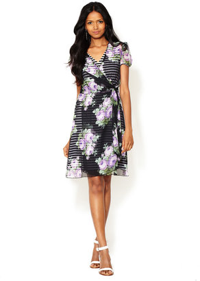 Anna Sui Cabbage Rose Print Wrap Dress