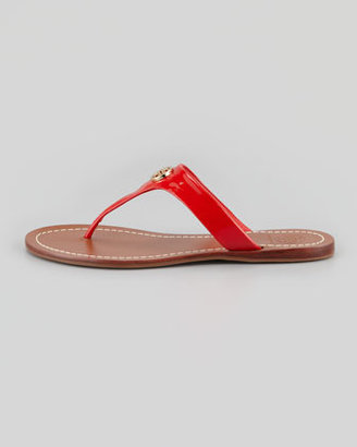 Tory Burch Cameron Patent Logo Thong Sandal, Red