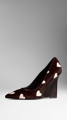 Burberry Heart Print Calfskin Wedge Pumps