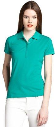 Moncler emerald cotton blend pique short sleeve polo shirt