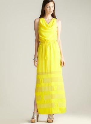 Catherine Malandrino Draped Neckline Side Slit Dress