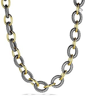 David Yurman Oval Extra-Large Link Necklace with Gold, 17