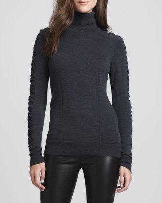 Milly Shirred-Sleeve Wool Turtleneck