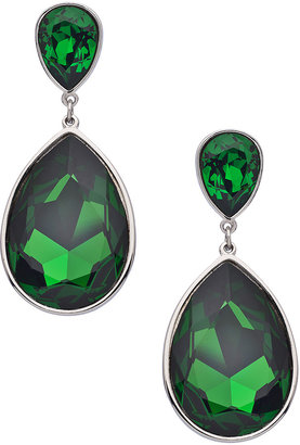 Swarovski Stefanie Somers Collection Silver and Moss Elements Angelina Teardrop Earrings