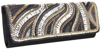 Jessica McClintock Beaded Flap Clutch (Black) - Bags and Luggage