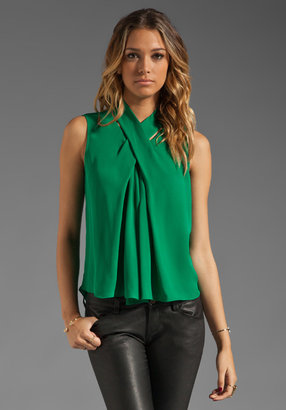 Halston Sleeveless Silk Blouse with Cross Neck Detail