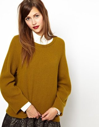 Les Prairies de Paris Oversized Cashmere Sweater in Mustard