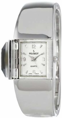 Peugeot Women's 718SJ Silver-Tone Crystal Cover Watch