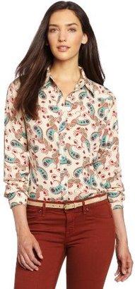Wrangler Women's Western Woven Long Sleeve Paisely Print Shirt