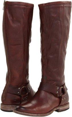 Frye Phillip Harness Tall (Dark Brown Antiqued) - Footwear