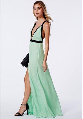 Missguided Willa Chiffon Contrast Plunge Maxi Dress Mint