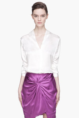 Elizabeth and James Chalk white glossy silk Mirta blouse
