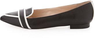 Pour La Victoire Bethany Two-Tone Pointy Toe Flat, Black/White