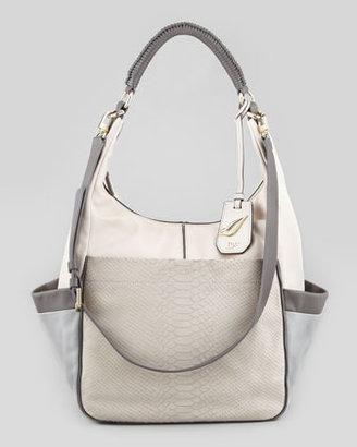 Diane von Furstenberg Franco Python-Embossed Nubuck Hobo Bag, White/Gray