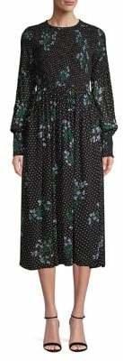 Ganni Floral Polka Dot Midi Dress