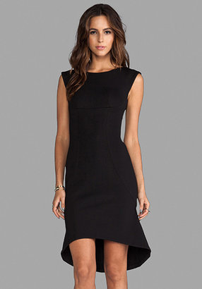 Tracy Reese Solid Neoprene High Low Shift Dress