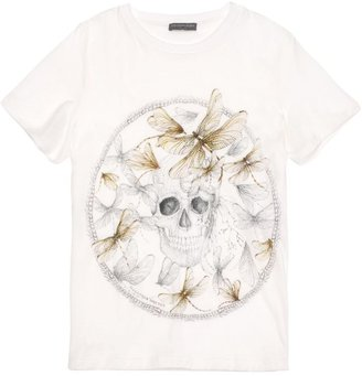 Alexander McQueen White Dragonfly Skull Boxy T-Shirt