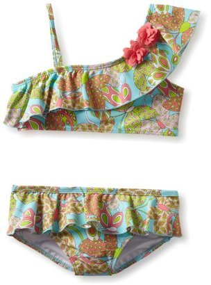 Hartstrings Big Girls' Butterfly Paisley Print Two Piece Swimsuit