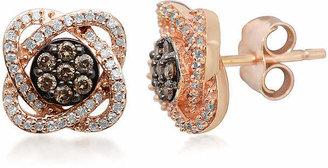 FINE JEWELRY 1/3 CT. T.W. White & Champagne Diamond 10K Rose Gold Flower Stud Earrings