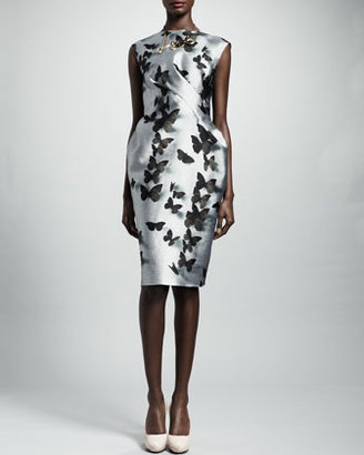 Lanvin Butterfly-Print Duchesse Dress, Silver