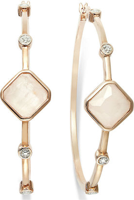Townsend Victoria 18k Gold over Sterling Silver Earrings, Rose Quartz (2-3/4 ct. t.w.) and Diamond Accent Hoop Earrings