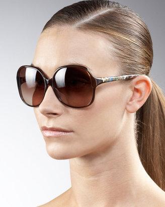 Diane von Furstenberg Printed-Arm Square Sunglasses
