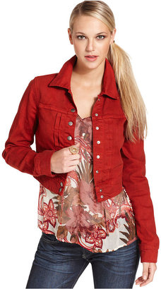 Lucky Brand Jacket, Long-Sleeve Red-Wash Cropped Denim