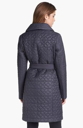 T Tahari Belted Quilted Coat
