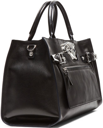 Versace Tote in Black & Silver