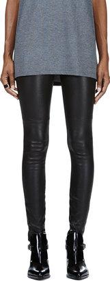 Maison Martin Margiela Black Stretch Leather Panelled Leggings