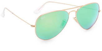 Ray-Ban Mirrored Matte Classic Aviator Sunglasses $175 thestylecure.com