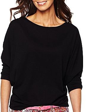 JCPenney jcpTM 3/4-Dolman Sleeve Ribbed-Cuff Tee