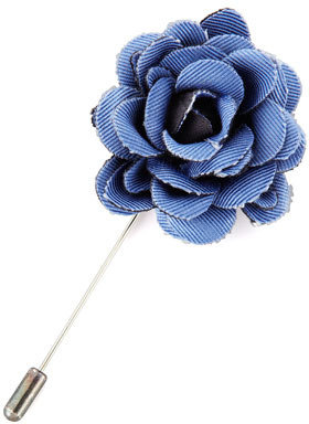 Lanvin Faille Rose Lapel Pin, Blue