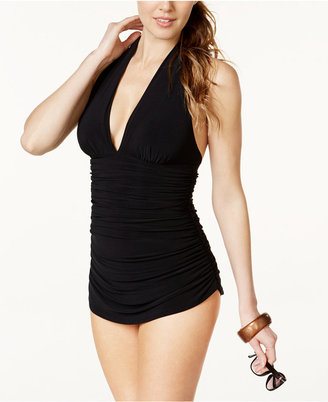 Magicsuit Ruched One-Piece Halter Swimdress Women's Swimsuit $172 thestylecure.com