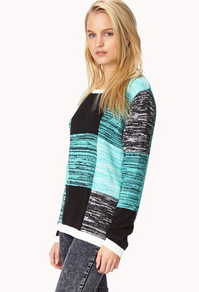 LOVE21 LOVE 21 Contemporary Colorblocked Marled Sweater