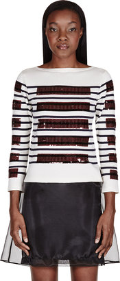 Marc Jacobs Ivory Sequined Boatneck T-Shirt