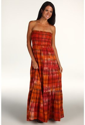 MICHAEL Michael Kors Tie Dye Strapless Tiered Maxi Dress (Lacquer Pink) - Apparel