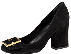Gucci Block Heel Buckle Pump, Black