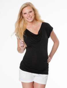 Motherhood Short Sleeve Drape Neck Dolman Sleeve Maternity Shirt