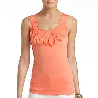 Mng by Mango Ruffle Front Tank - Coral