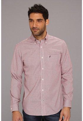 Nautica Wrinkle Resistant Mini Plaid L/S Shirt (Deep Seared) - Apparel